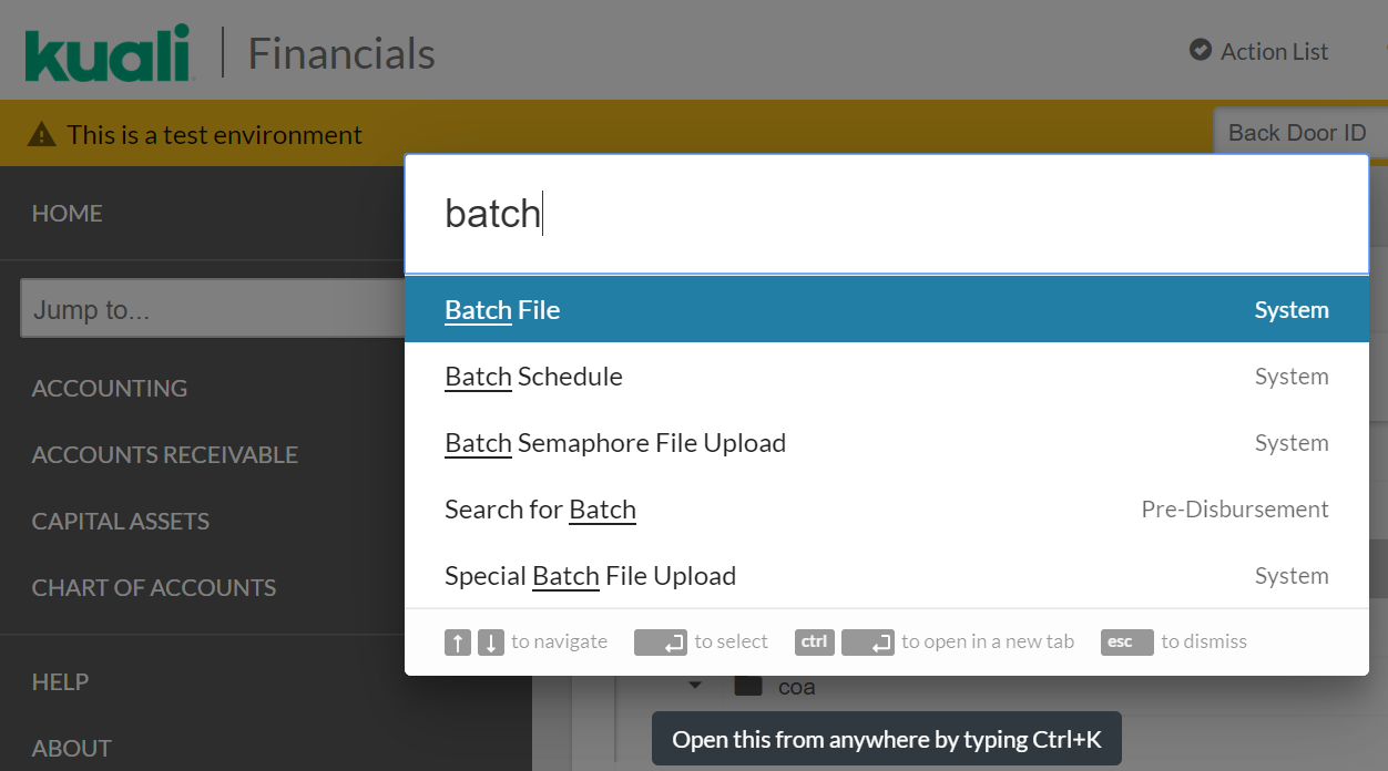 Accessing Logs, Reports and Files - Batch File – Kuali Financials